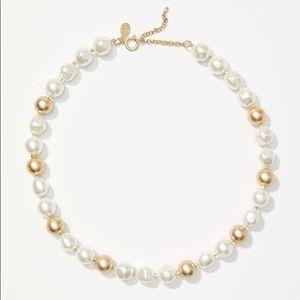 LOFT Pearlized Brushed Metallic Necklace NWT